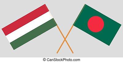 Crossed flags of Bangladesh and Hungary