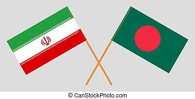 Crossed flags of Bangladesh and Iran