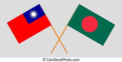 Crossed flags of Bangladesh and Taiwan