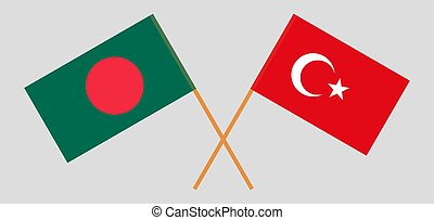 Crossed flags of Bangladesh and Turkey