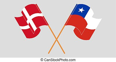 Crossed flags of Chile and Denmark