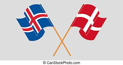 Crossed flags of Iceland and Denmark