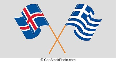 Crossed flags of Iceland and Greece