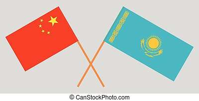 Crossed flags of Kazakhstan and China