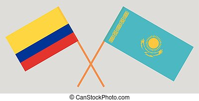 Crossed flags of Kazakhstan and Colombia