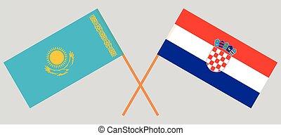 Crossed flags of Kazakhstan and Croatia