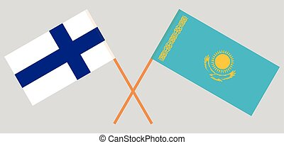 Crossed flags of Kazakhstan and Finland