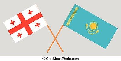 Crossed flags of Kazakhstan and Georgia