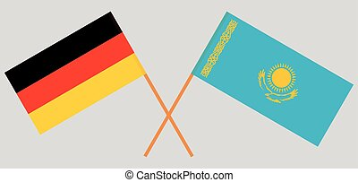 Crossed flags of Kazakhstan and Germany