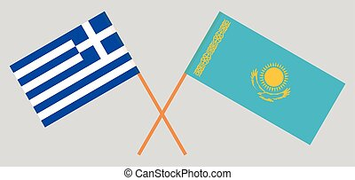 Crossed flags of Kazakhstan and Greece
