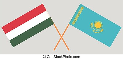 Crossed flags of Kazakhstan and Hungary
