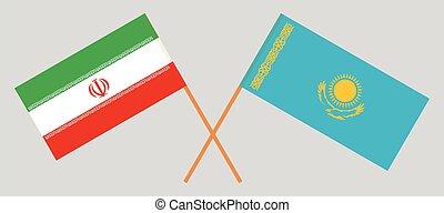 Crossed flags of Kazakhstan and Iran