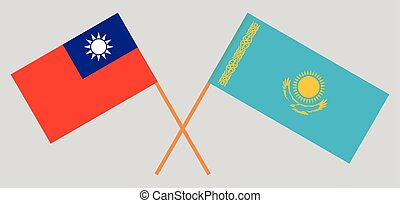 Crossed flags of Kazakhstan and Taiwan