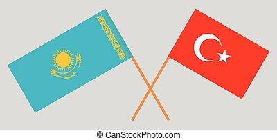 Crossed flags of Kazakhstan and Turkey