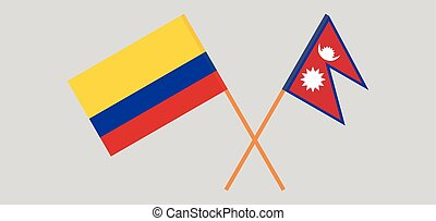Crossed flags of Nepal and Colombia