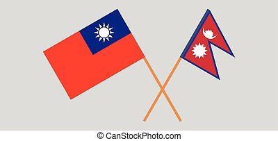 Crossed flags of Nepal and Taiwan