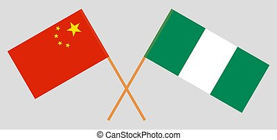 Crossed flags of Nigeria and China