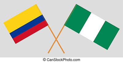 Crossed flags of Nigeria and Colombia