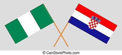 Crossed flags of Nigeria and Croatia