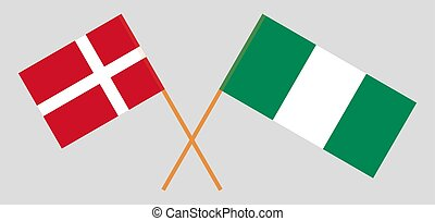 Crossed flags of Nigeria and Denmark