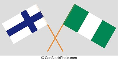 Crossed flags of Nigeria and Finland
