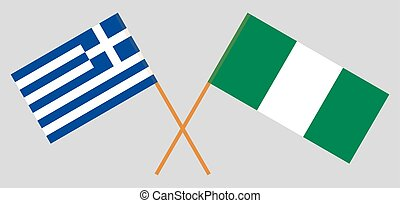 Crossed flags of Nigeria and Greece
