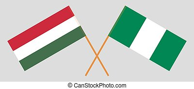 Crossed flags of Nigeria and Hungary