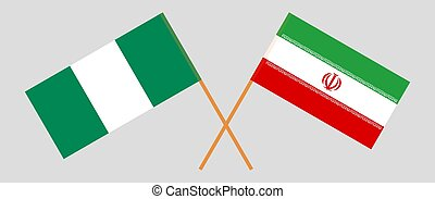 Crossed flags of Nigeria and Iran
