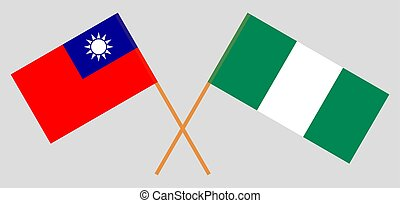 Crossed flags of Nigeria and Taiwan