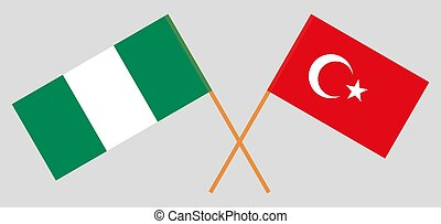Crossed flags of Nigeria and Turkey