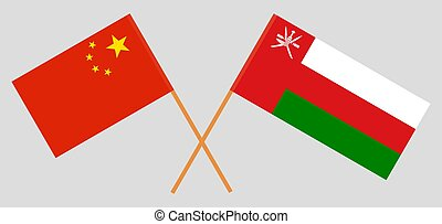 Crossed flags of Oman and China