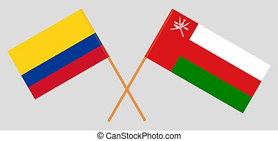 Crossed flags of Oman and Colombia