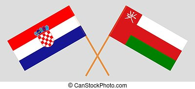 Crossed flags of Oman and Croatia