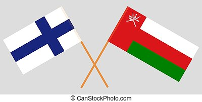 Crossed flags of Oman and Finland