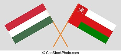 Crossed flags of Oman and Hungary