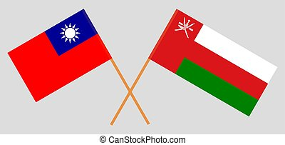Crossed flags of Oman and Taiwan