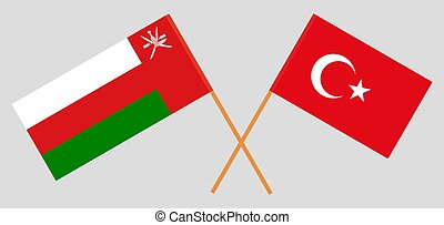 Crossed flags of Oman and Turkey