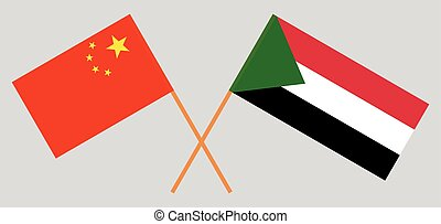 Crossed flags of Sudan and China