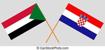 Crossed flags of Sudan and Croatia
