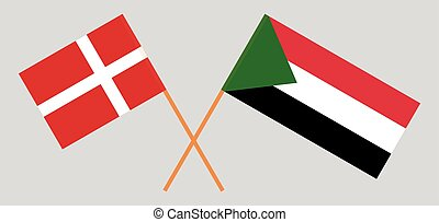 Crossed flags of Sudan and Denmark