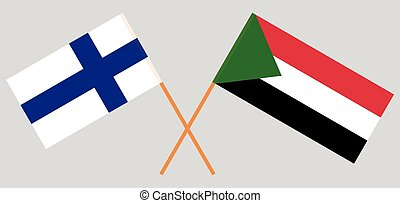 Crossed flags of Sudan and Finland