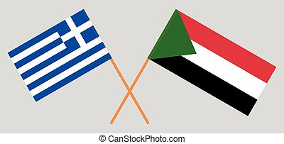 Crossed flags of Sudan and Greece
