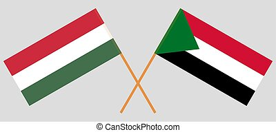 Crossed flags of Sudan and Hungary