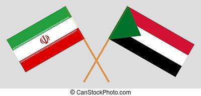 Crossed flags of Sudan and Iran