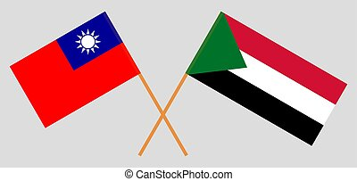 Crossed flags of Sudan and Taiwan.