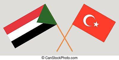 Crossed flags of Sudan and Turkey
