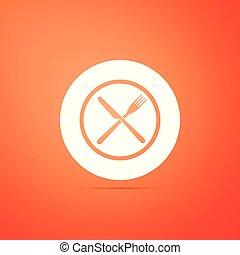 Crossed fork and knife on plate icon isolated on orange background. Restaurant symbol. Flat design. Vector Illustration