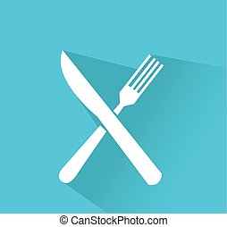 crossed fork and knife vector icon