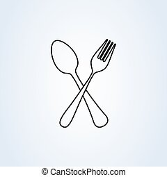 crossed fork and spoon line art. icon isolated on white background. Vector illustration