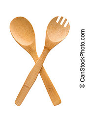 Crossed fork and spoon sign - Houseware: wooden fork and...
